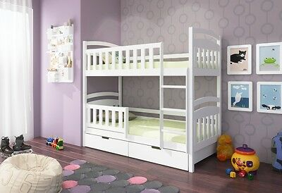 Ellie WHITE/PINE Brand New Wooden Bunk Bed with Mattresses and Drawers P&P