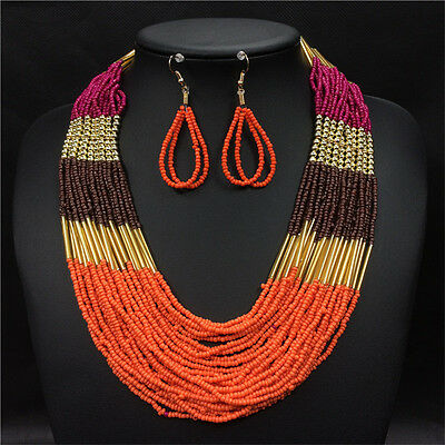 Bohemian Ethnic Multi-layer Statement African Beads Necklace Earring Jewelry Set