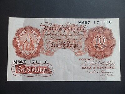 Bank Of England 10/- Shilling  Note - P.s.beale -  M66Z 171110