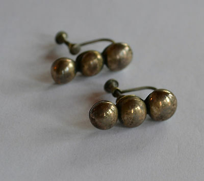 Antique Victorian handmade signed silver tone metal 3D screw back earrings