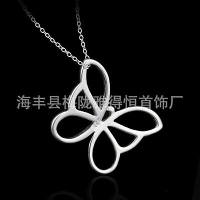 UK hollow Butterfly 925 Silver Plt Pendant Necklace Chain Lady Girl