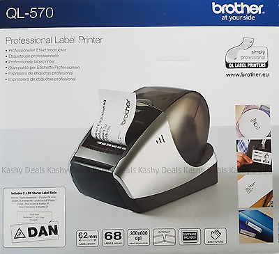 Brother Professional Label Printer QL-570 with 2 DK Rolls - NEW