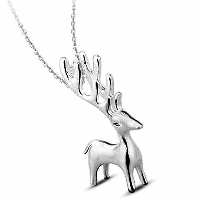 UK David's deer 925 Sterling Silver PLT Pendant Necklace Chain Lady Girl