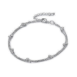 Double layer bead  Ankle Bracelet Women Anklet Foot Jewelry 925 STERLING SILVER