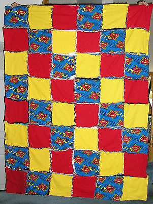 Superman Fabric Flannel Rag Blanket - Cozy & Warm for home, travel, daycare