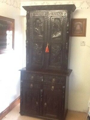 Antique Oak Carved secretaire  bookcase REDUCED