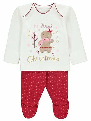 Baby Girls My First Christmas Pyjamas  0-12 Months
