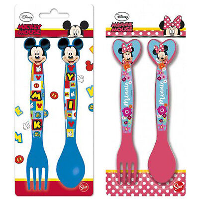 Cutlery Set 2 Piece Disney Mickey Minnie Mouse Fork Spoon New&Sealed Boys Girls