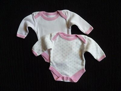 Baby clothes GIRL premature/tiny<6lbs/2.7kg x2 bodysuits long sleeve white/pink