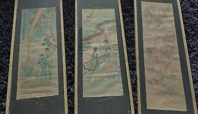 set of 3 antique oriental silk paintings in gilded frames