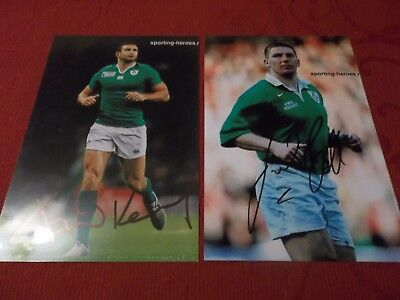 Dave Kearney, Jon Bell, Ireland Rugby Player, 2 Signed 6 X 4 Photos