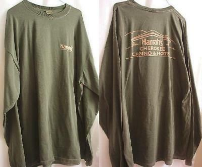 Harrah's Hotel Casino Cherokee Knit T-Shirt Green Unisex XXLarge Long Sleeve