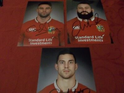 3 British Lions Rugby Players, 3 Signed 6 X 4 Photos