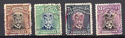 Rhodesia Admirals (1913 - 1923) High Value Stamps; Fiscally Used & /or Perfinned