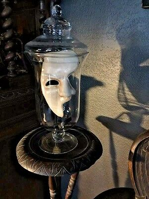 Decorative Vintage APOTHECARY JAR with Theater Phantom of the Opera Mask Inside