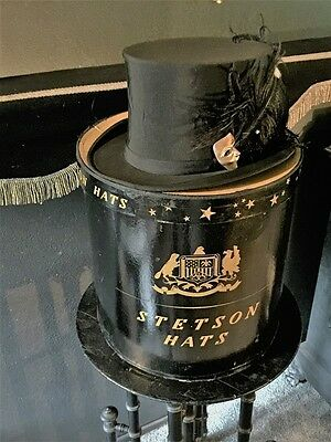 Antique Halloween Top Hat & Mask Brooch & Stetson Hat Box Victorian Steampunk