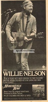 1980 WILLIE NELSON Honeysuckle Rose Vtg Album Promo Print Ad
