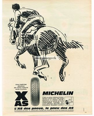 1968 Michelin Tires Horse Racing art French Vtg. Print Ad