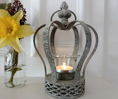 Crown Tealight holder, grey metal with a distressed shabby chic look