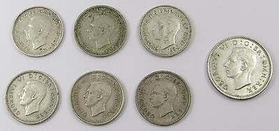 7 George Vi Silver (0.500) Coins - 6 Three Pences (3 Australia)  & 1 Sixpence