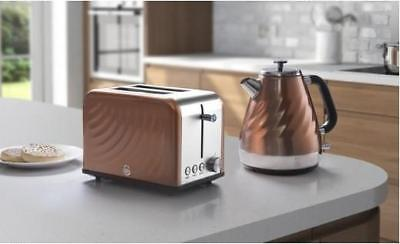 Swan Copper Twist Kettle and Toaster Set