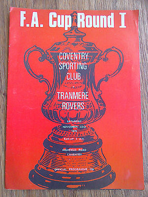 22/11/1975 Coventry Sporting Club Vs Tranmere FA Cup Football Match Programme