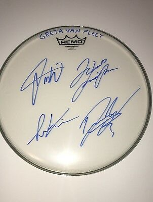 Greta Van Fleet Real Hand Signed Band Drumhead Signed Rare Inscription