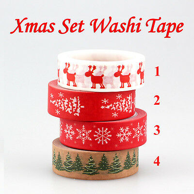 10m Red Christmas Washi Tape Set for Scrapbooking gift packing party decoration