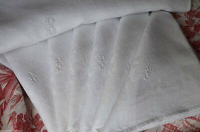 French pure linen BS monogrammed damask table cloth and 6 napkins, unused