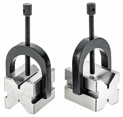 """Grizzly H5608 2 V-Block Clamps 1-5/8"""" shop machinist metal vise hold down"""