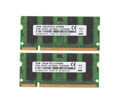 2X 2GB NEW 4 GB 2Rx8 PC2-5300S Laptop RAM DDR2 667Mhz SO-DIMM Memory #6FJM