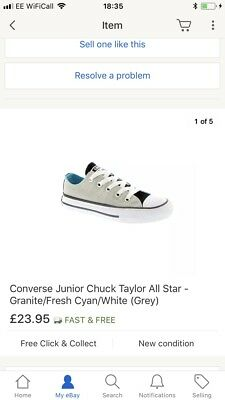 f81d5786ba83 Girls Size 11 Converse Junior Chuck Taylor All Star - Granite Fresh Cyan  White