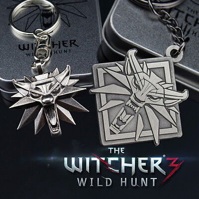 The Witcher 3 Wild Hunt Witcher Keychain 3D Wolf Car Keyring With Box Boy's Gift