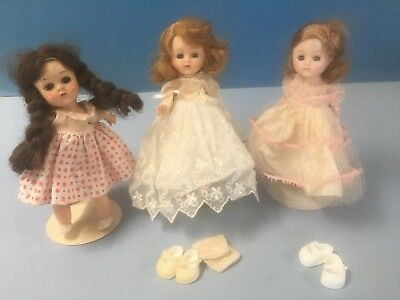 """Three 8"""" HP Ginny? Ginger? Dolls Likely 1950s"""