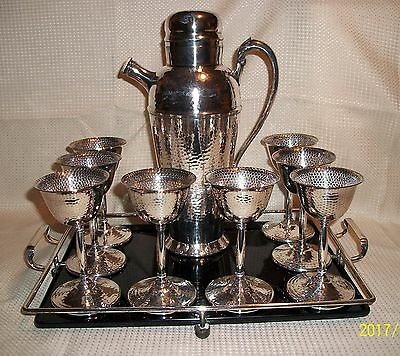 Vintage Art Deco Hand Hammered Cocktail Shaker Set Rogers Silver Plated