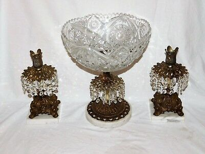 Antique Glass Compote/Center Bowl & Candlesticks Brass/Metal/Marble Prisms