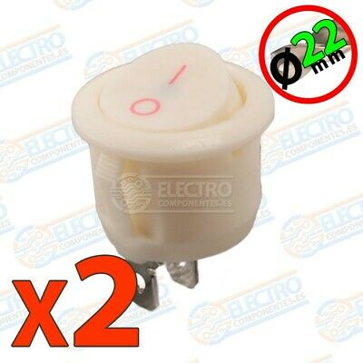 Interruptor ON OFF redondo 22mm 6A 220v - BLANCO - Lote 2 unidades - Arduino Ele