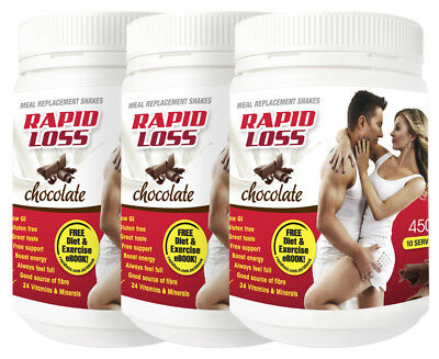 3 x Rapid Loss Meal Replacement Shake Chocolate 450g