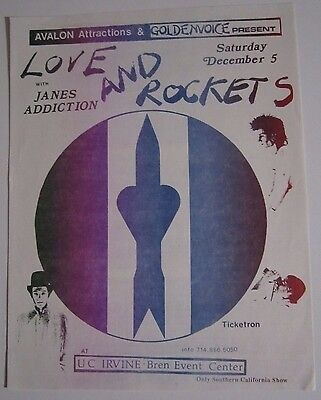 Love And Rockets Jane's Addiction 1987 Original Concert Flyer Handbill Poster