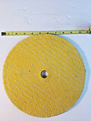 "10"" Sisal Buff Wheel, 3 pcs, 1"" Center, 1/2"" Thick, Treated, Double Stitched,New"