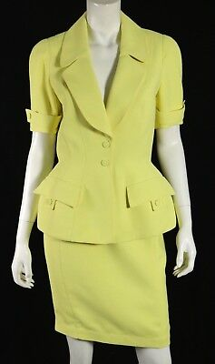 THIERRY MUGLER Vintage Highlighter Yellow Poly Crepe Skirt Suit 40