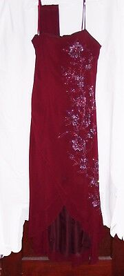 Night Scene formal dress (mother of the bride/bridesmaid);Burgundy w/beads/shawl