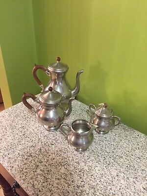 Royal Holland Pewter KMD Piece Tea Service Set and Tray 4 Piece