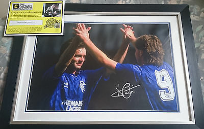 Ally McCoist Framed Hand Signed Mount + COA Rangers FC - Large 23x17 inches
