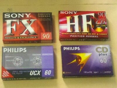 4 cassettes tapes rare: Sony fx, Hf and Philips ucx, cd plus new and sealed