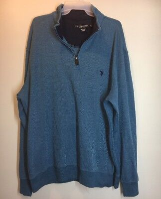 a65fba553 US POLO ASSN. Mens Sweater 100% Cotton Blue Half-Zip Pullover Long ...