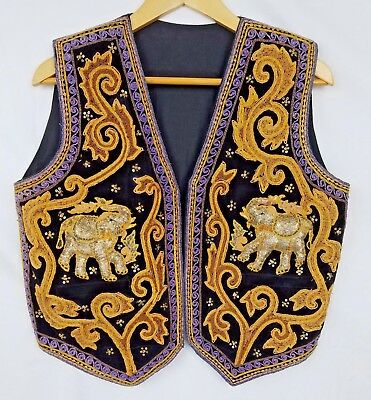 Vintage Hippie Metallic Sequin Embroidered Hindu Ganesh Elephant Unisex Vest 40""