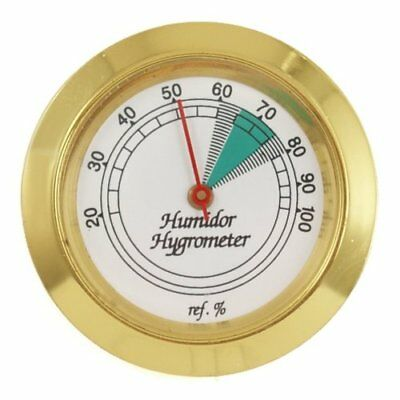 "Gold Frame 1 3/4""  Analog Hygrometer for Cigar Humidor Replacement"