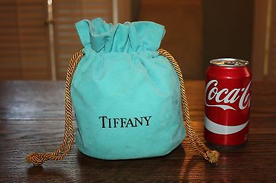 Rare Tiffany Drawstring Large Pouch Draw String Blue Bag
