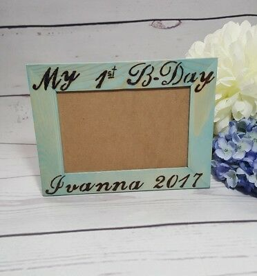 MY FIRST BIRTHDAY - personalized unisex children baby photo picture wood frame